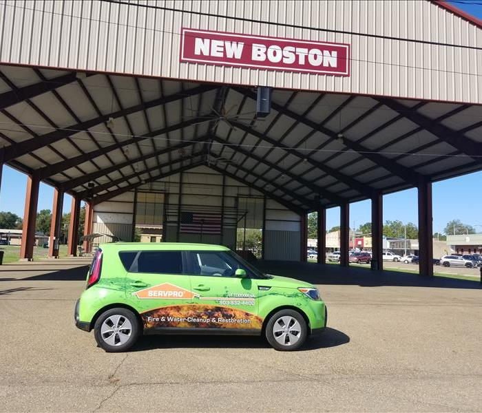 SERVPRO of Texarkana's car parked in downtown New Boston